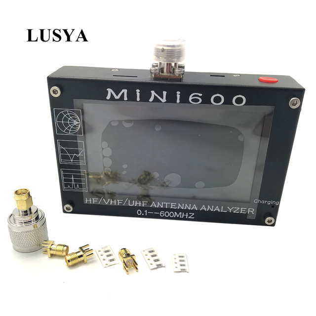Lusya 4.3 inch LCD Mini600 HF VHF UHF Antenna Analyzer 0.1-600MHz SWR Meter 1.0-1999 5V/1.5A For Radio C6-007