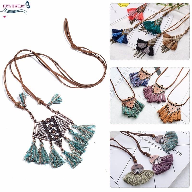 Boho Aqua Stone Fringe Tassel Peacock Pendant Long Necklace for Girls Jewelry
