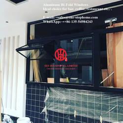 Алюминиевая Двухстворчатая оконная система плавно увеличивает открывающееся пространство, пузырьковое окно для чайного магазина