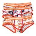 3 PCS Sexy Gay Underwear Men Cueca Boxers Shorts Male Calzoncillos Hombre Flag Stripe U Convex Pouch Low Waist Slip Panties