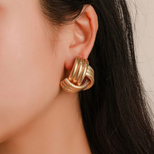 New Simple Hollow Pattern Spiral Hook Earrings For Women Exaggerated Circle Leaf Whirlpool Gear Earrings Jewelry(China)