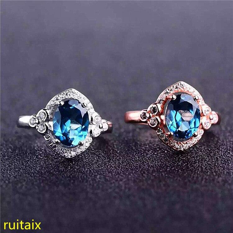KJJEAXCMY bijoux fins 925 argent pur incrusté de pierres précieuses naturelles bleu bague topaze bijoux couleur or et argent.