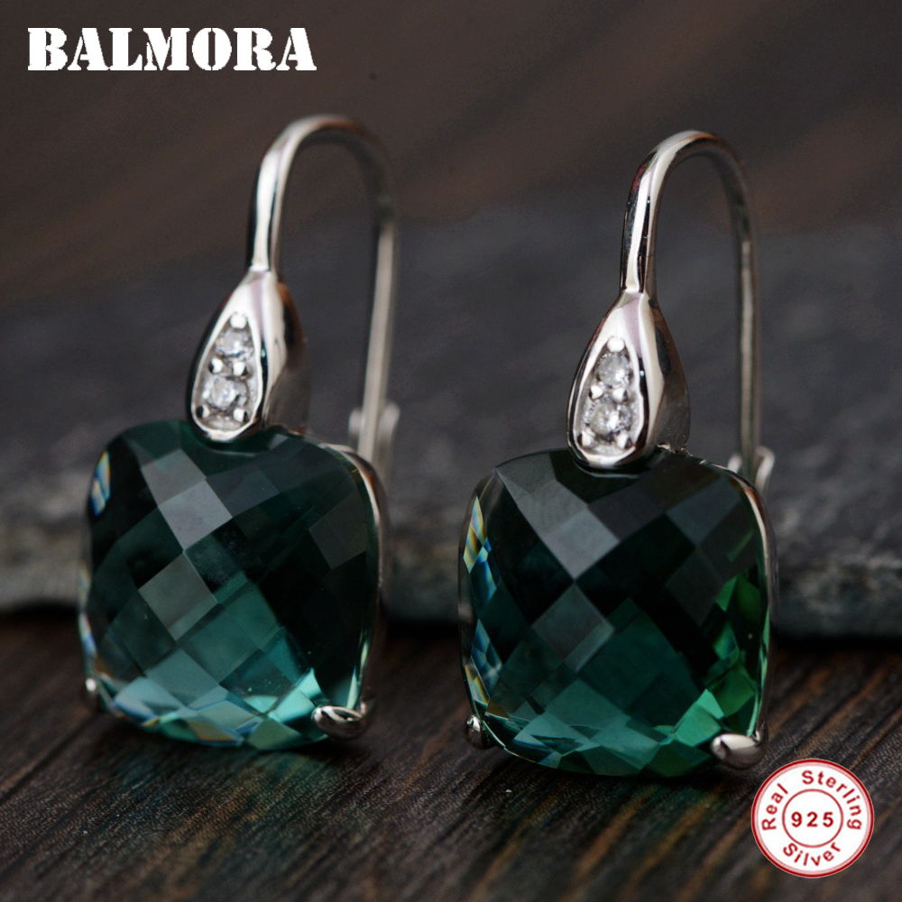 BALMORA 925 Sterling Silver Crystal Square Earrings for Women Lady Party Gift Classic Fashion Earrings Jewelry Brincos TRS30957 pair of classic faux crystal tassels earrings for women
