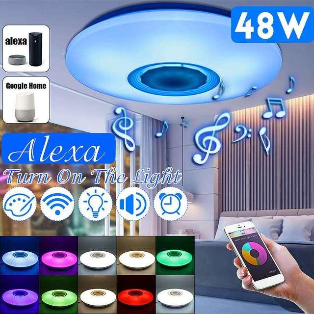 48Wโคมไฟเพดานหรี่แสงได้ลำโพงบลูทูธเพลงลงAPPการควบคุมระยะไกลและเสียงหลายสีAC110 260Vในร่มห้องนอน