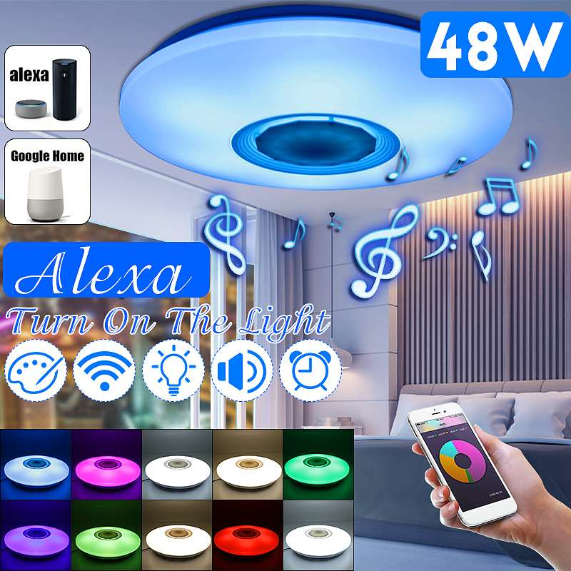 48W Ceiling Light Dimmable Music bluetooth Speaker Down Lamp APP Remote And Voice Control Multi Color AC110 260V Indoor Bedroom|Ceiling Lights| |  - title=