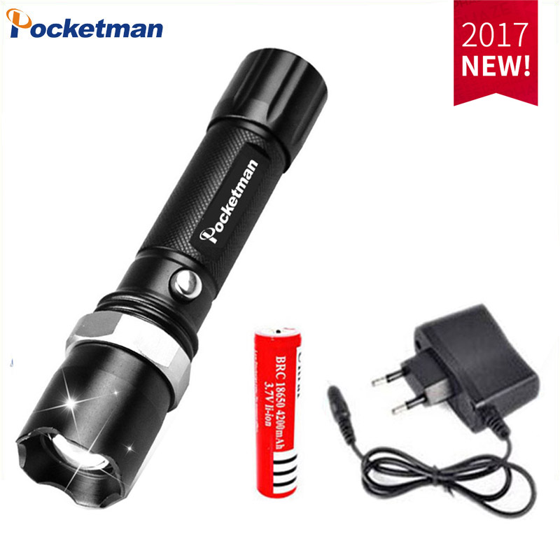 E17 XM-L T6 3800LM Aluminum Waterproof Zoomable LED Flashlight Torch light for 18650 Rechargeable Battery or AAA