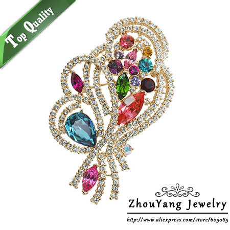 ZHOUYANG ZYX025 Noble Gorgeous Multicolour Crystal Brooches  Rose Gold Color Jewelry Austrian Crystal Wholesale