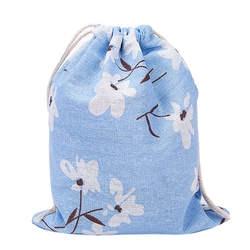 Хлопок конопли drawstring Сумки модные дешевые Рюкзаки с цветочным принтом рюкзак 3 размера домашнего хранения Вышивка Крестом Пакет
