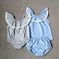 2016 del niño del verano del bebé fija ruffles niños chica remata y pantalones lindos clothings establece 80-90-100-110-120