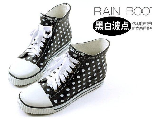Aliexpress.com : Buy Women's Fashion Dots Lace Up Rubber Rain ...