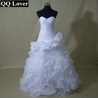 Hot Sale Real Picture Organza Bridal Gown Sweetheart Ruffles Wedding Dress 2016 Best Price Wedding Gown