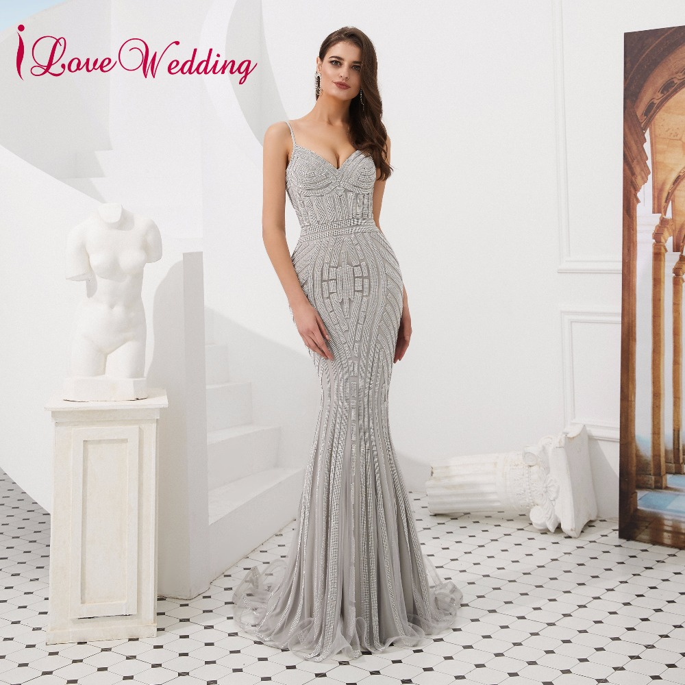 iLoveWedding Charming 2019   Prom     Dress   Sexy V Neck Spaghetti Straps Mermaid Party Gown Long   Dresses   Evening