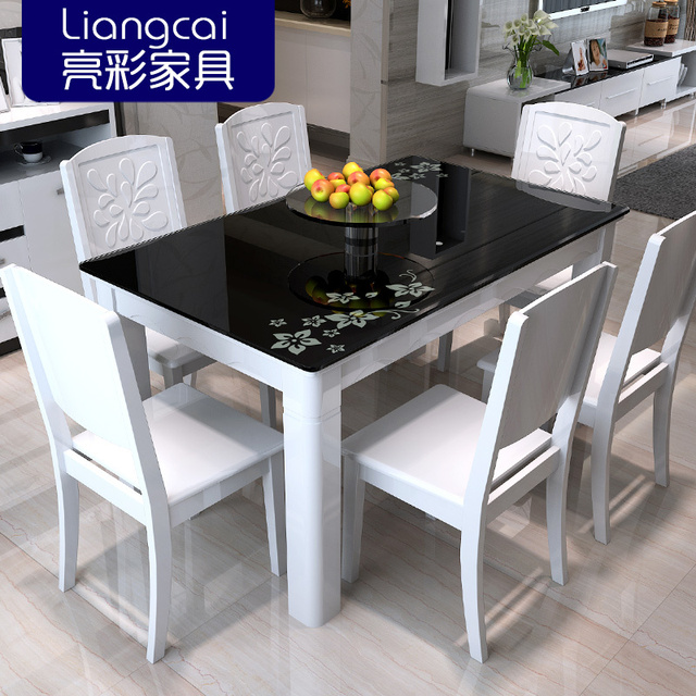 Bright Color Combination Of Black Glass Dining Tables And Chairs Painted Wood Table Modern Minimalist