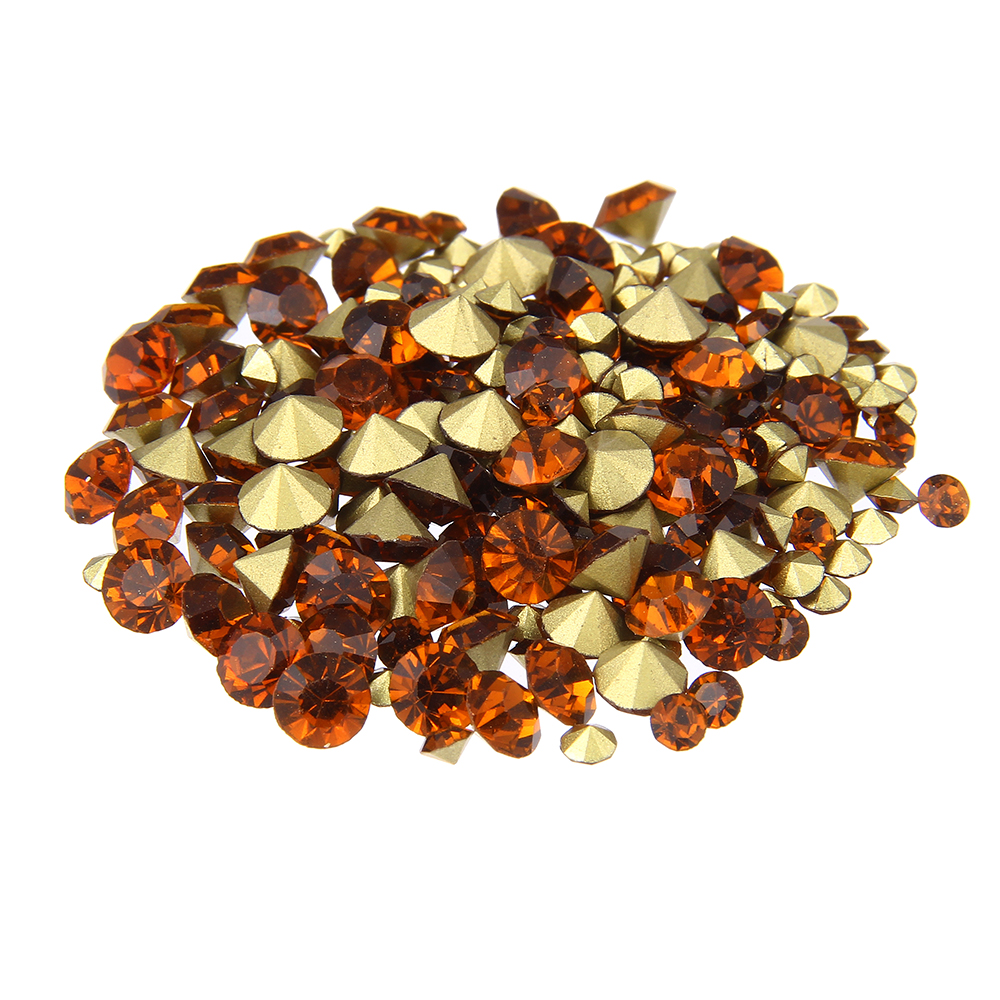 Nail Rhinestones Smoked Topaz Color Mini Pointback Crystal Stones Loose Strass Bead DIY Nail Art Decoration