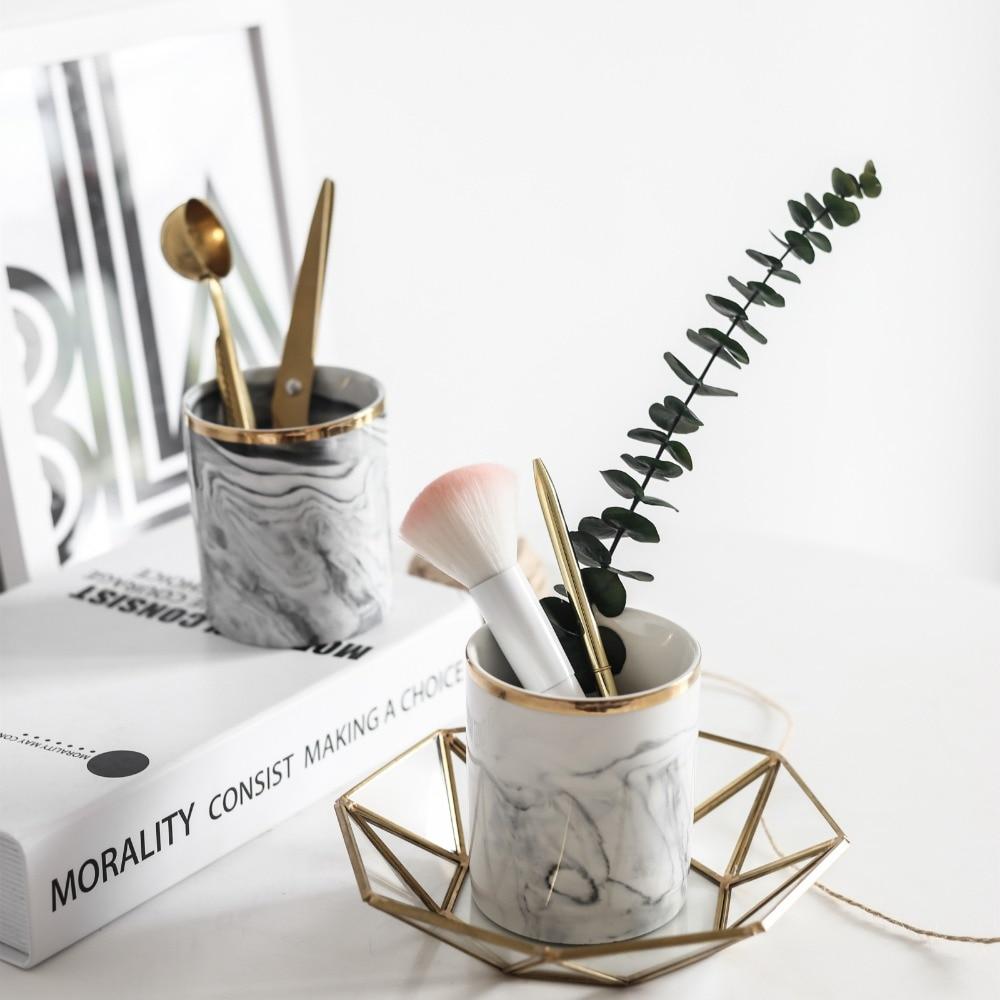 Modern Minimalist Marbled Porcelain Ceramic brush pot makeup brush storage box Gift for Girl Lady
