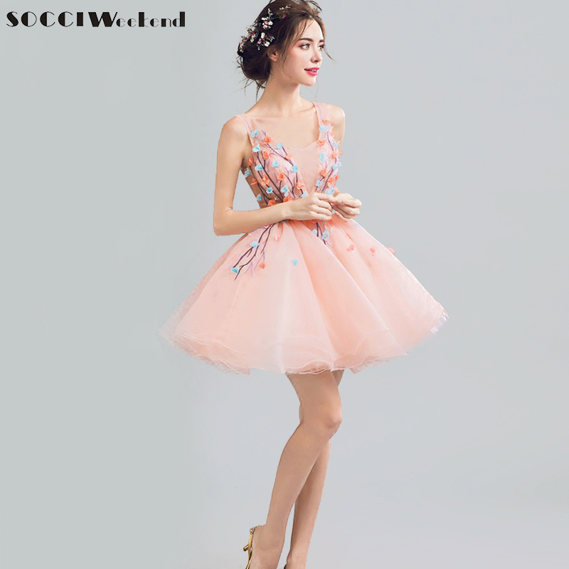 SOCCI Weekend Sexy V Neck Pink   Cocktail     Dresses   2019 Short Above Knee Formal Birthday Party   Dress   Organza Ball Gowns Robe de