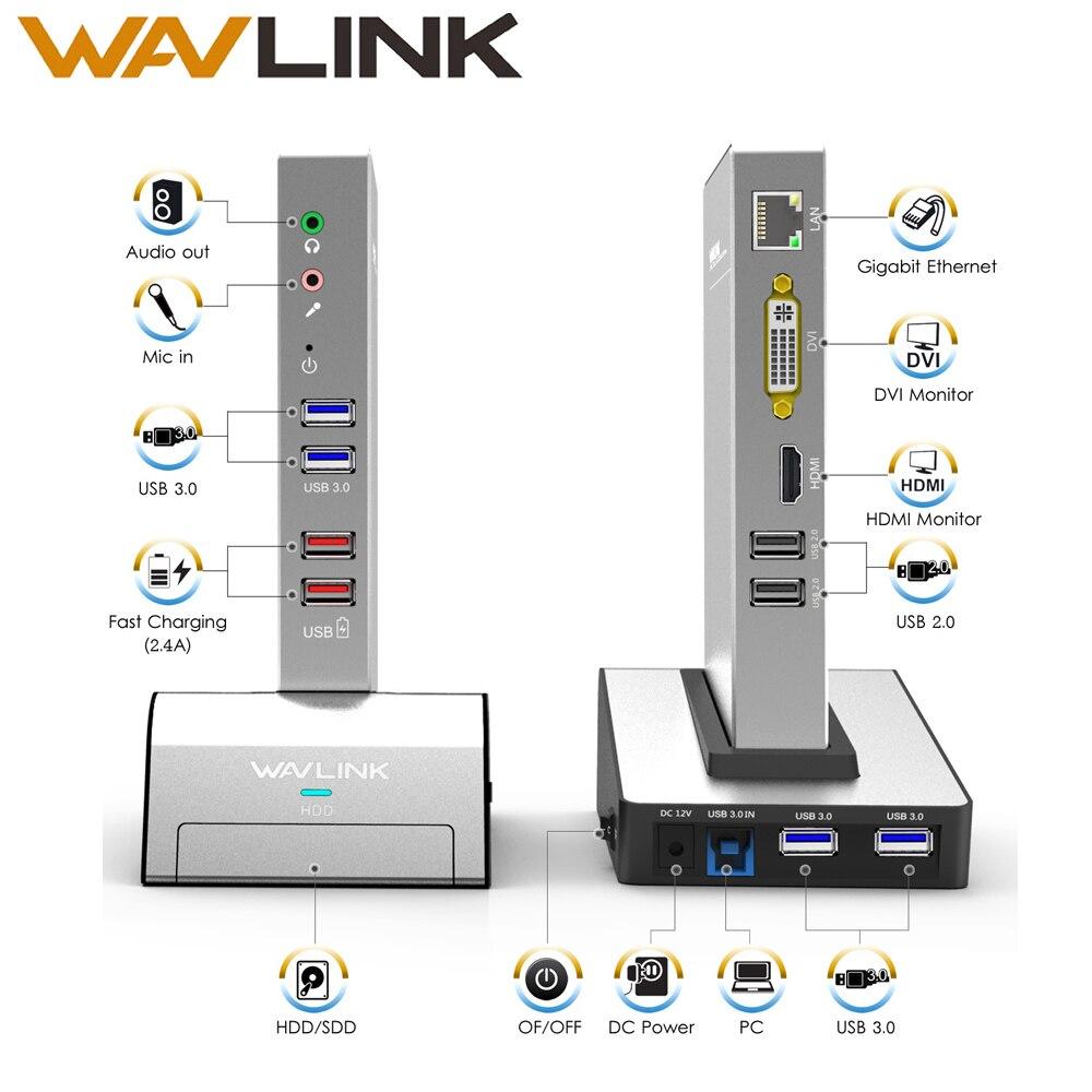 USB 3,0 Универсальный ноутбук док-станция w/HDD и SSD основание корпуса Двойной видео Поддержка HDMI/VGA/ DVI 2048X1152 Gigabit Ethernet