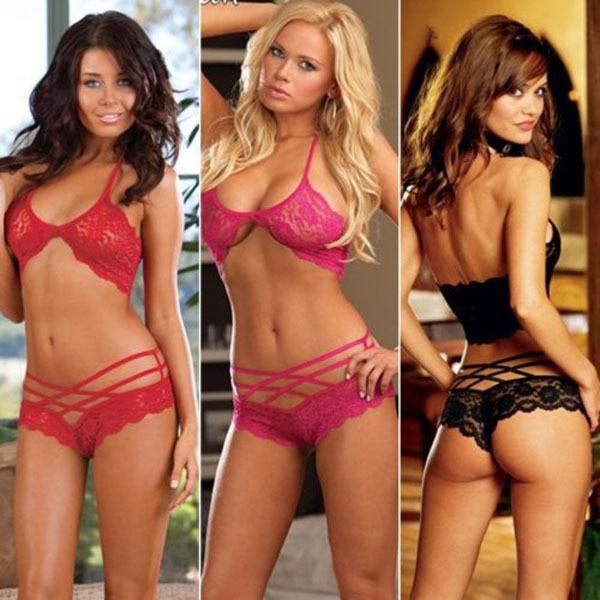 Sexy Lingerie Top Sexy Women Underwear Crop Top Bathrobe Corset Woman Lace Bra Set Sleepwear Halter Lingerie G-string Black Red