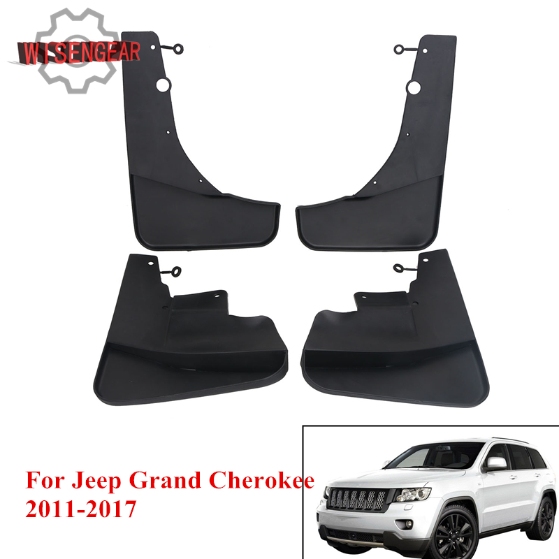 цены WISENGEAR Car Front & Rear Mud Flaps for Jeep Grand Cherokee 2011-2017 Splash Guards Mud Flap Mudguards Fender with Screws RA002