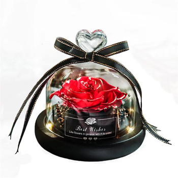Glow Eternal Rose in A  Glass Dome Home Decoration Preserved Led Roses Forever Flower Present Beauty And The Beast Rose