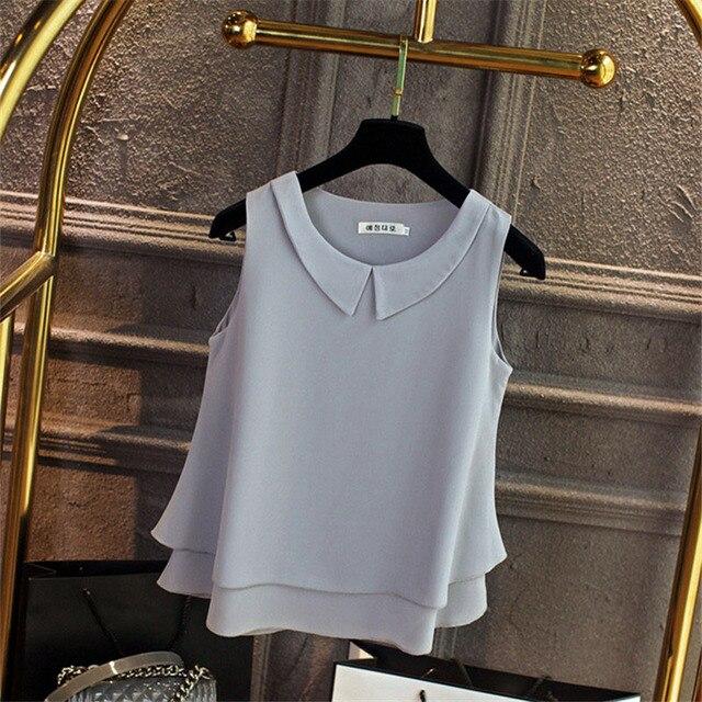 Multi-layer Women Spring Summer Style Chiffon Blouses Shirts Lady Casual Sleeveless Peter Pan Collar Blusas Tops DD1822 5