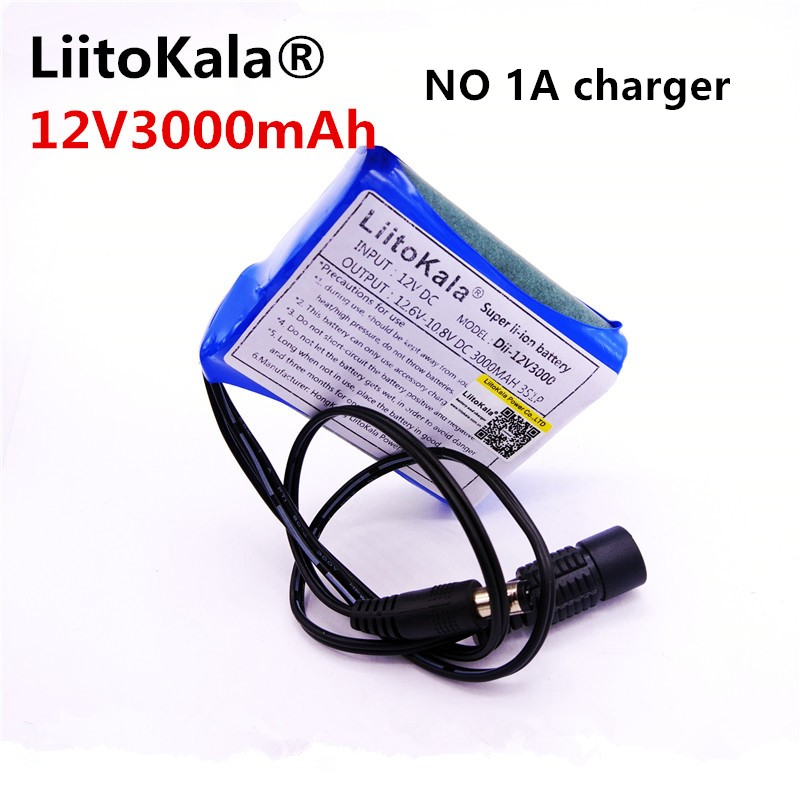 HK Liitokala <font><b>12</b></font> <font><b>v</b></font> 3000 mah Rechargeable Lithium-ion <font><b>Battery</b></font> Charger C Mara CCTV does not include 1A charger image