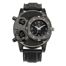 Mens Casual Sports Quartz Watch Trendy Leather Strap Large Dial