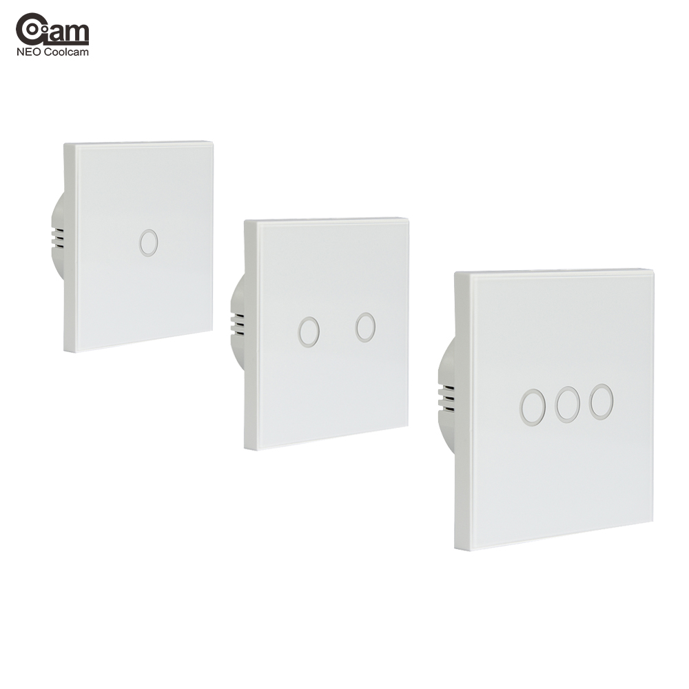 NEO Coolcam Smart WiFi RF/ APP/Touch Control Wall Light Switch 1 /2 /3 Gang 86 Type EU Panel Wall Touch Light Switch Smart Home sonoff t1 us smart touch wall switch 1 2 3 gang wifi 315 rf app remote smart home works with amazon free ios and app ewelink