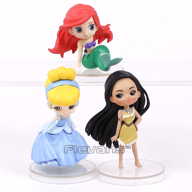 Q Posket Characters The Little Mermaid Ariel Cinderella Pocahontas PVC Figures Toys Princess Dolls Gifts for Girls 3pcs/set