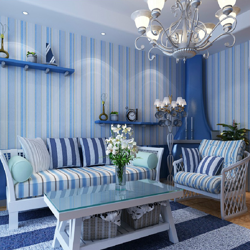 2016 new hot sale blue vertical stripes Non-woven Mediterranean wind Bedroom living room sofa background wall paper flocking contemporary and contracted non woven wallpaper vertical stripes boy born children room bedroom wall stickers blue mediterranean