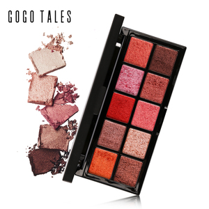 GOGO TALES 10 Colors Mineral Eyeshadow Palette Naked Smoky Eye Shadow Powder Warm Nude Matte Shimmer Eyeshadow Contour Cosmetics