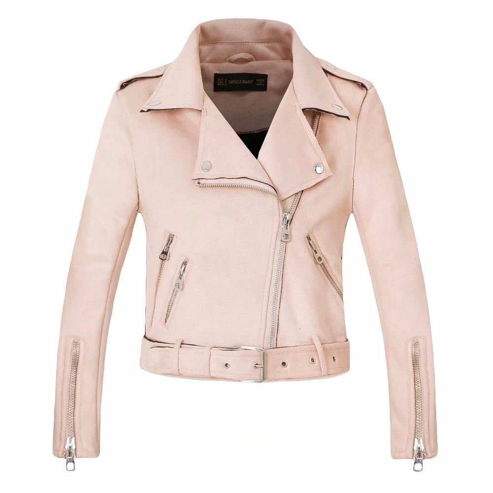 Outwear Arrial Women Autumn Winter   Suede   Faux   Leather   Jackets Lady Fashion Matte Motorcycle Coats Biker Gray Pink Beige Outwear