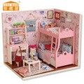 QUARTO BONITO Feito À Mão Boneca Modelo Móveis Em Miniatura DIY Boneca casa de luz De Madeira Presente de Aniversário de Brinquedos Para As Crianças Os Adultos GH459