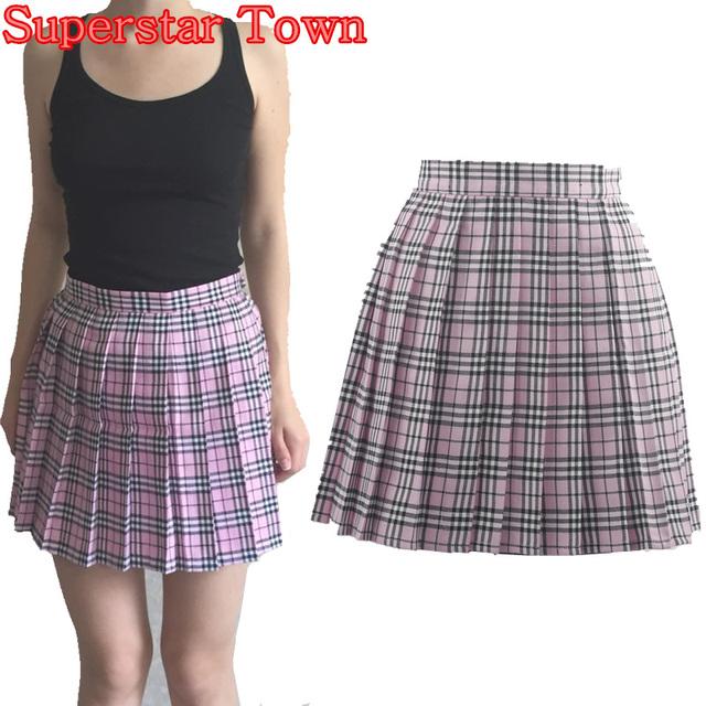 Japonés kawaii chica uniforme escolar a cuadros faldas plisadas para mujer animadora falda lolita faldas saias faldas mujer liz lisa