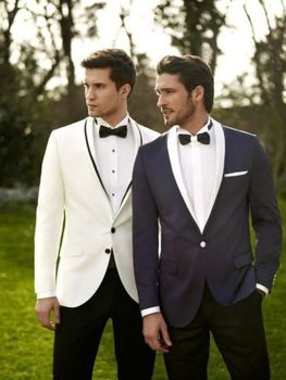 Handsome & Casual Men Suits 2017 Simple Fashion Groomsman Wedding Suits Best Men's Dinner Party Tuxedos (Jacket+Pants+Tie/Bow)
