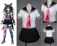 Super DanganRonpa Cosplay Costume Ibuki Mioda Uniform Girls Shirt Tie Socks Skirt Sleevelet Anime Halloween Women