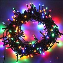 Guirnalda navideña de luces Led de 10M y 80 leds, guirnalda de luces de hadas de alambre negro para exteriores, para boda, fiesta y vacaciones