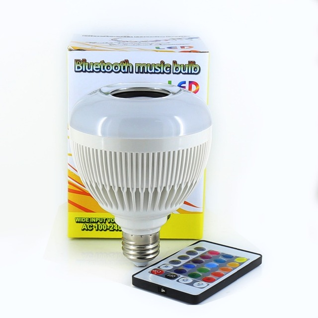 E27 Bluetooth music bulb led Wireless 12W 24 Keys IR Remote Control Mini Smart LED Audio Speaker RGB Color Light Bulb Music Lamp