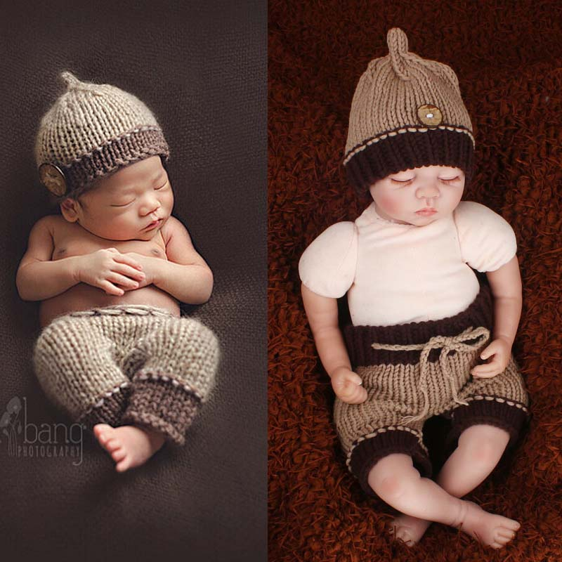 Classic Crochet Baby Beanie Hat and Trousers Set Newborn Photo Props for Boy Toddler Knitted Costume Outfit 0-12M H217