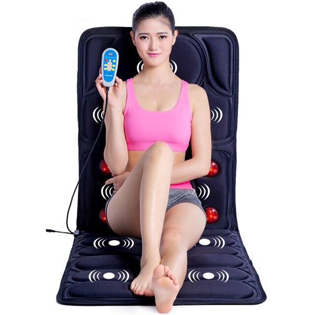 Almohadilla de masaje con calefacción por vibración, masaje Cervical para cuello, acupresión, colchón de infrarrojos lejano, 110 240V