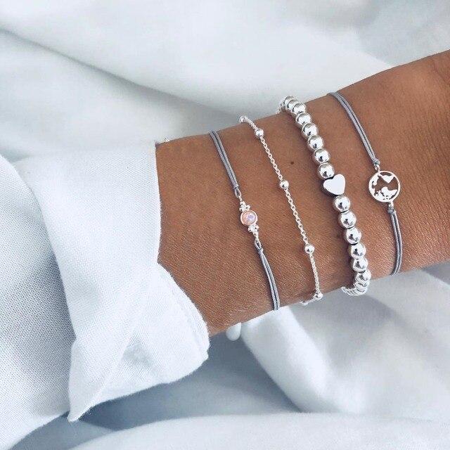 Купить женский набор браслетов diezi ручной работы из серой веревки картинки