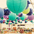 8''(20cm)Tiffany blue Chinese paper lantern round lamp Wedding Decor glim festival decoration Lampion party scaldfish Multicolor