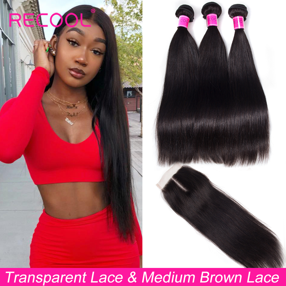 Recool Straight Hair Bundles With Closure HD Transparent Swiss Lace Remy Brazilian Human Hair Weave 3