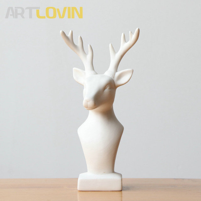 New Arrivals Nordic Style White Ceramic Animals Statues Sika Deer Figurine Ornaments Modern Simple Design Home