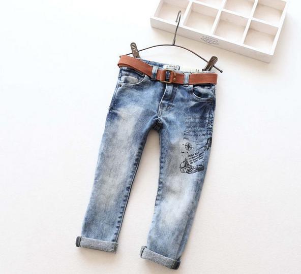 Novas Crianças Chegada Denim calças de Brim Meninos Meninas Jeans Skinny Crianças Calça Jeans Moda Jeans Com Cinto de Crianças Primavera Outono Calças Compridas