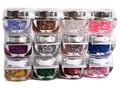 12 colors/set Shiny Nail Gel Acrylic Spangles Nail Art Glitter UV Gel