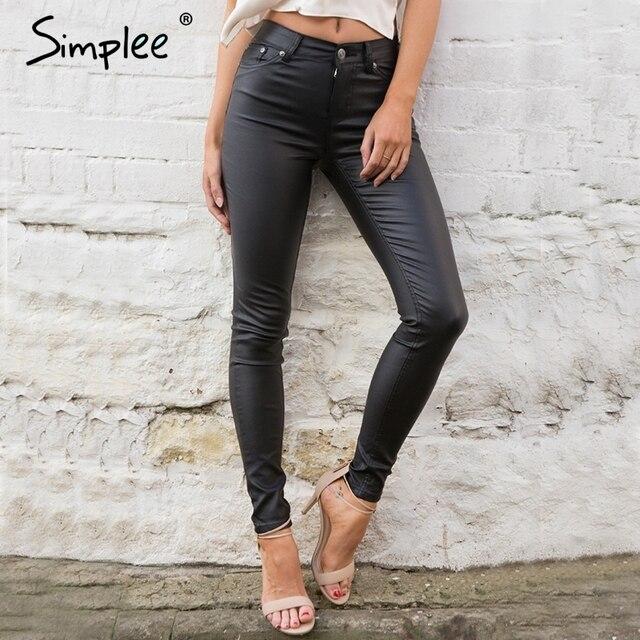 Simplee Тонкий кожаный женские брюки капри леггинсы Осень зима сексуальные брюки высокой талии брюки Черный карандаш брюки женский низ