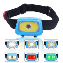купить PANYUE Mini COB LED Headlight Headlamp Head Lamp Flashlight 3xAAA battery Torch Camping Hiking Fishing White/Red/Green Light по цене 871.17 рублей