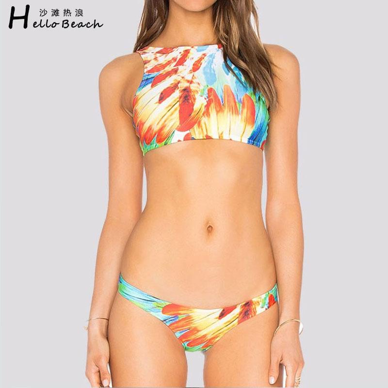 HELLO BEACH Bikini s vysokým krkem Plavky Ženské koupací šaty - Sportovní oblečení a doplňky