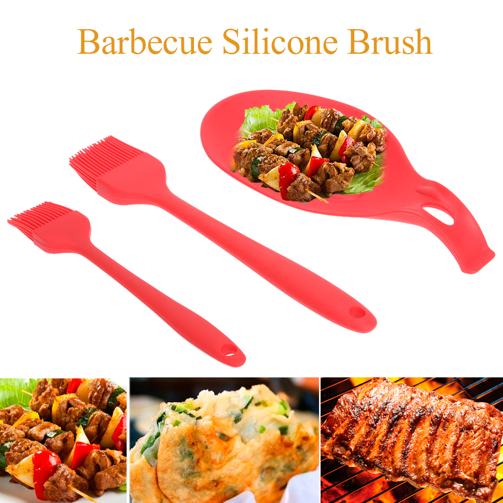 BBQ Set Silicone Spoon Holder+2pcs Cleaning Basting Brushes Kitchen Cooking Utensils Silicone Barbecue Barbacoa Pastry Brush